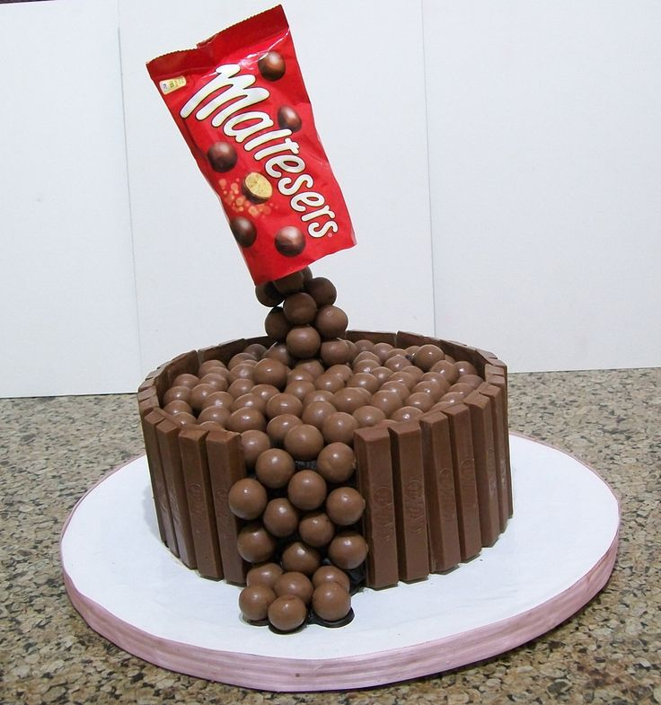chocolate cake covered in chocolate ganache & decorated with kitkat...