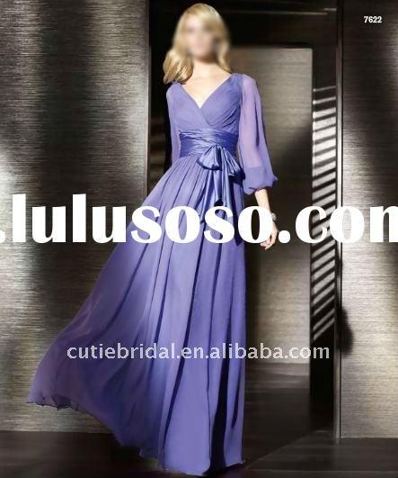 2012 Chiffon Long Sleeve Evening Dress LS579