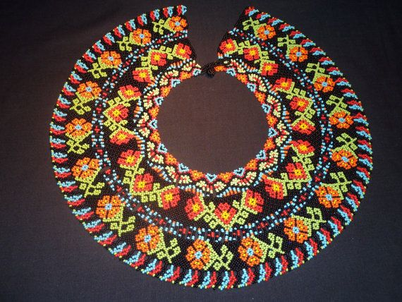 Native American orange and red flowers Necklace by salamandrarte, $200.00