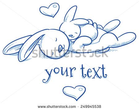 Cute baby bunny and adult cuddling, hugging, asleep, for easter or baby shower card. Hand drawn line art vector illustration.