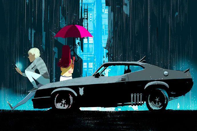 Muscle cars et jeunes couples, illustrations par Oriol Vidal