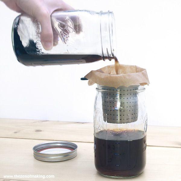 Recipe: Mason Jar Cold Brew Coffee | The Zen of Making http://www.thezenofmaking.com/2013/07/recipe-mason-jar-cold-brew-coffee.html