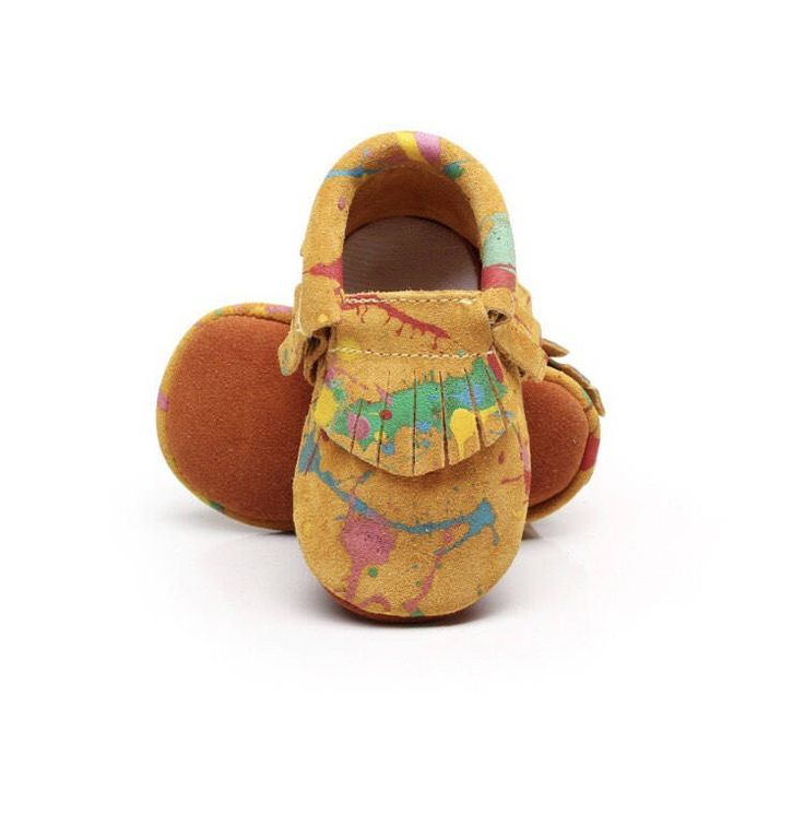 A personal favorite from my Etsy shop https://www.etsy.com/listing/532672786/baby-paint-splatter-moccasins