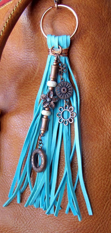 Purse Charm, Tassel, Zipper Pull, Key Chain – Chunky Turquoise Deerskin Suede, Bright & Antiqued Copper Charms, Ivory Stone, Gypsy Boho