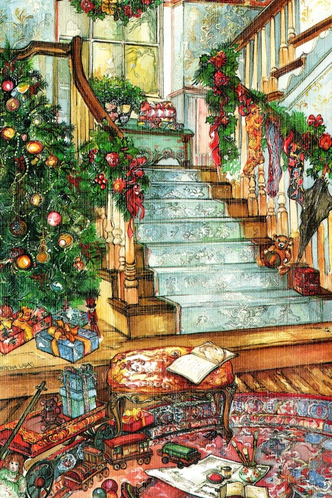 Beautiful illustration - note the round oriental carpet and the beautiful stair runner.