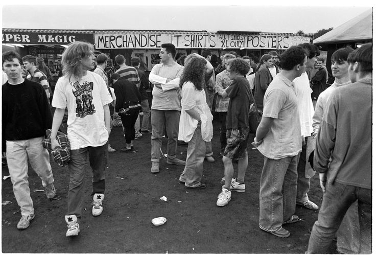 Stone Roses fans look at band merchandise in Glasgow
