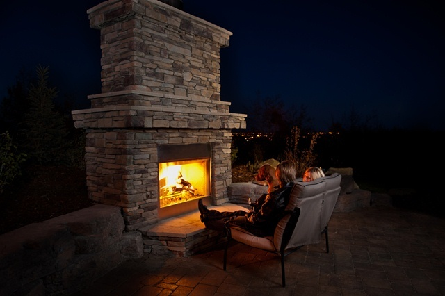 Fireplace designed by Your Space By Design Constructed by Infinity Gardens - Calgary Custom Landscaping