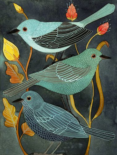 indigodreams:    petitcabinetdecuriosites:  Three little birds (by Geninne)