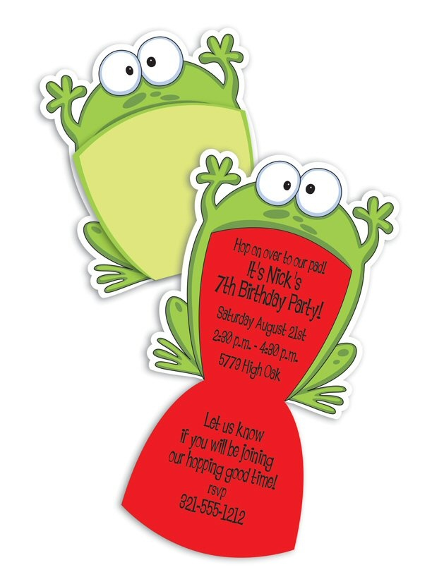 Big Mouth Frog $1.80-Big Mouth Frog, kids party invitation, fun kids party, frog mouth invitation