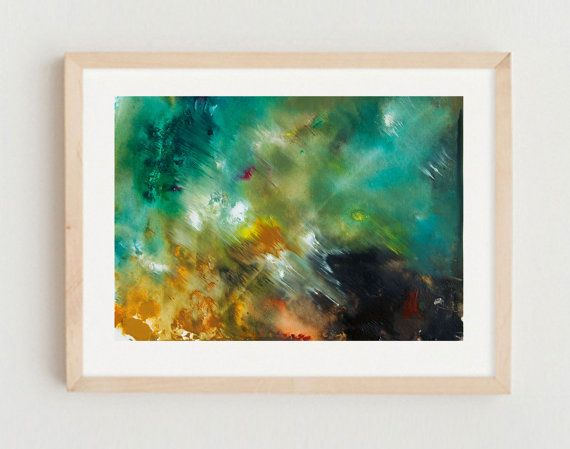 Abstract Art Landscape Seascape Monoprint on by GwenDudaStudios