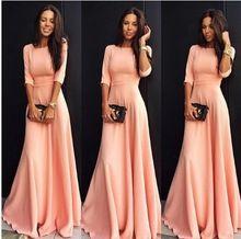 2016 Мода макси длинное платье женщины розовый три четверти рукав платья женщин элегантное платье для женщин большой размер z8