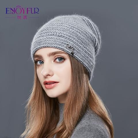 69ed60099949ec ENJOYFUR Rabbit Cashmere Knitted Winter Hat Women Mixed Color Thick Female  Skullies Beanies Warm Gravity Falls Cap Women's Hats