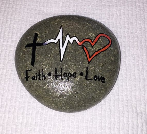 FAITH HOPE LOVE Painted Rock by InspiredByKam on Etsy