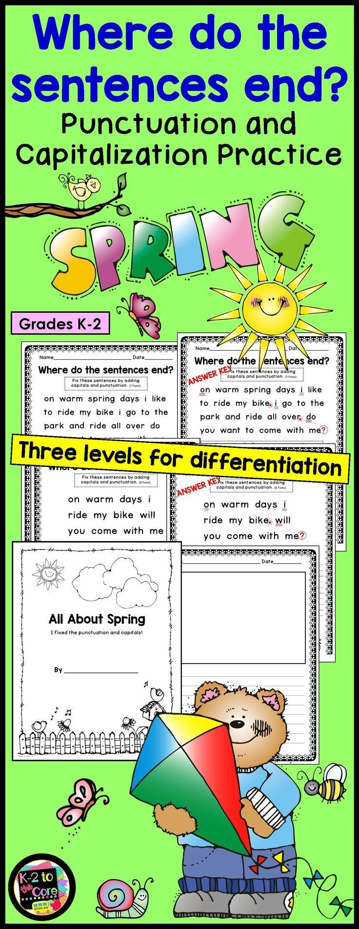 Provide your students with capitalization and punctuation practice with these differentiated, no prep editing and writing practice sheets. Each page has two, three, or four springtime-themed sentences with missing capitals and punctuation. Your students'