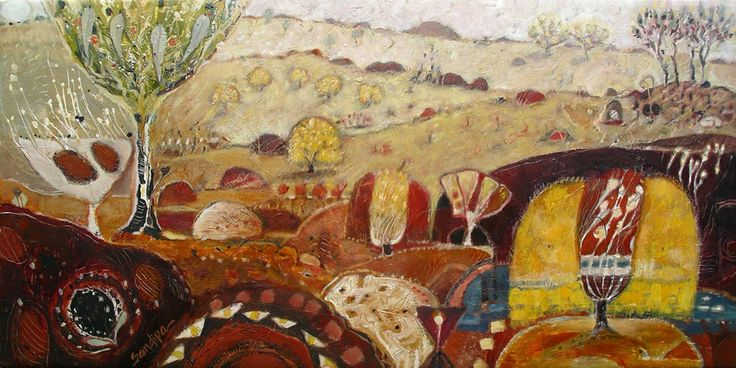 """""""Wattle Time: Gold Country Spring Water"""" by Sandipa - mixed media on canvas, 76 x 152 cm"""