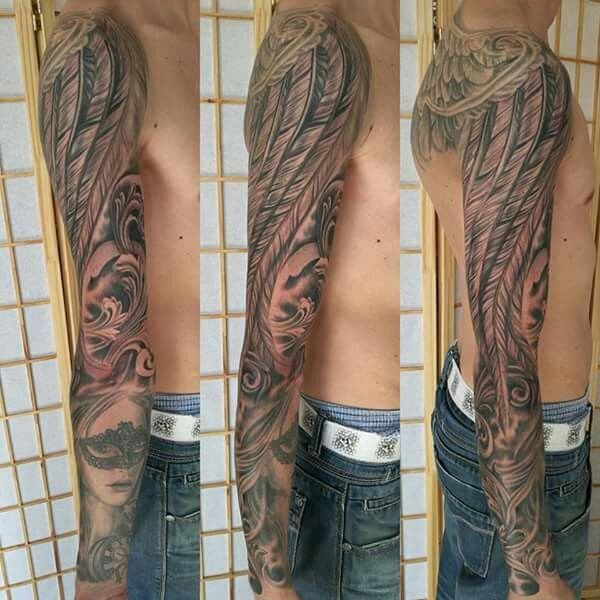 Feather sleeve,wing sleeve , black and gray sleeve , tattoo andel chrudim