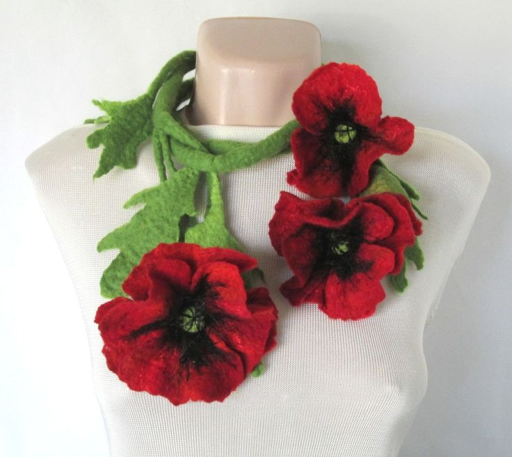 Felt lariat,Flower belt,Funky Jewelry,Scarf with poppies,Wearable art,Wool…