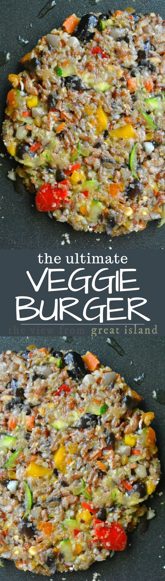 The Ultimate Veggie Burger ~ I'm not a fan of vegetarian food that pretends to be anything other than what it is. I love veggies, and I don't see why they should need to disguise themselves. But I make a small exception in the case of veggie burgers. The burger is the all American summer treat, and, to be honest, half of the fun is the bun and all the toppings. Switching out a healthy meatless burger just makes so much sense. You can make a big batch of these and freeze them for easy healt