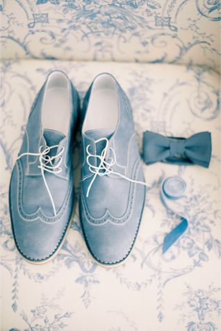 Powder blue groom's shoes and bow tie | Anastasiya Belik Photography | http://burnettsboards.com/2013/12/powder-blue-white-wedding/