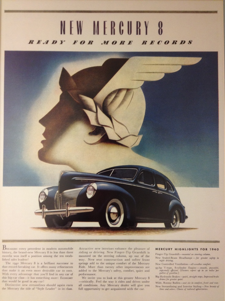 1940 Mercury 8 - I love the artwork in this vintage ad.