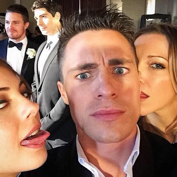 #Arrow cast Brandon and Stephen look so professional and then there is Colton, Katie, and Willa
