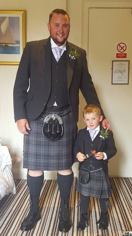 Kevin Heaton was an usher at his sister's wedding recently. Here he is wearing the Highland Granite tartan with our exclusive Glen Orchy Tweed jacket and waistcoat.