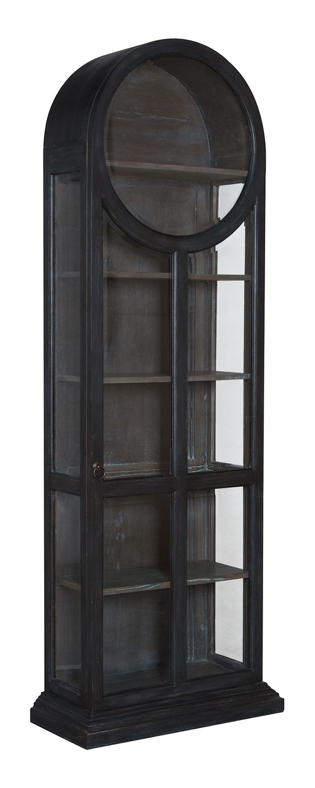 Give your favorite decorative pieces a worthy home with this stunning cabinet. With an eye-catching rounded top, gorgeous glass paneling, and sleek black finishing, this Benjamin Display Cabinet will m...  Find the Benjamin Display Cabinet, as seen in the The Billiards Room Collection at http://dotandbo.com/collections/the-billiards-room?utm_source=pinterest&utm_medium=organic&db_sku=114887