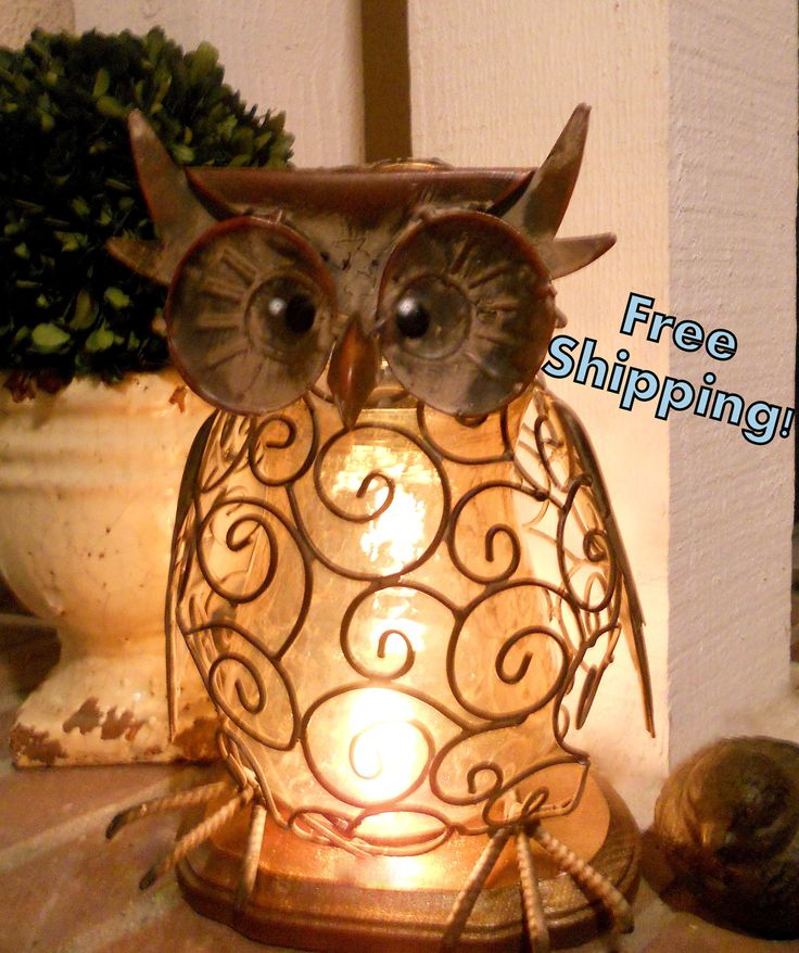 Wise and Wired Owl Lamp Night Light - Home Decor. $42.00, via Etsy.