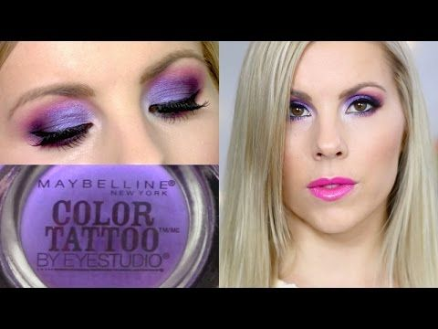 Eyeshadow Tutorial | Painted Purple Maybelline Color Tattoo. This dramatic purple eye look would look so beautiful with a full white outfit! Paired with a Purple necklace my mother gave me.