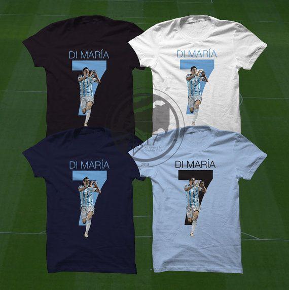 Di Maria T-Shirt  Argentina Player  Size S to XXXL #soccer #wallart #decor #canvas #art #poster #graphicdesign #soccerart #football #futbol #etsy #g17 #graphics17 #etsy
