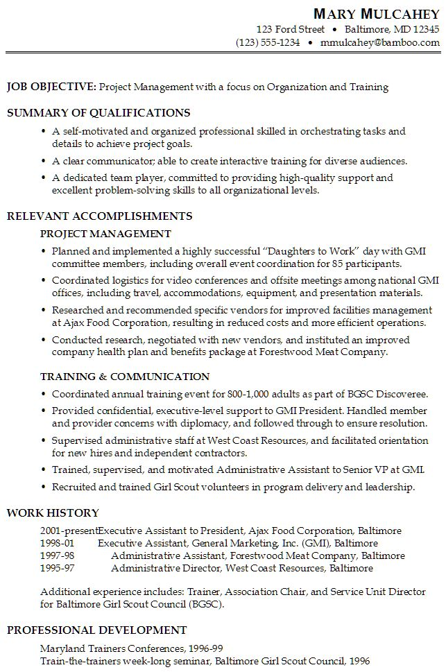 Administrative Assistant Resume Samples & Tips Project