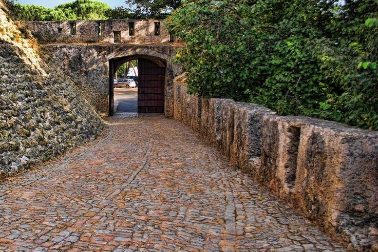 Cobblestone pathway at the Castle of Tomar in Portugal