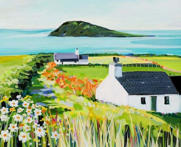 Aberdaron open edition print by Janet Bell. Available from Janet Bell Gallery, Beaumaris, Isle of Anglesey