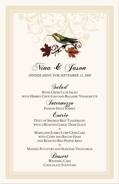 fall wedding menu