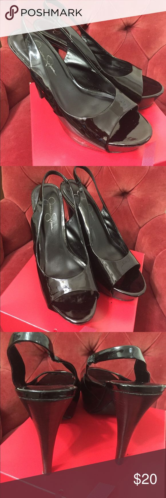 Jessica Simpson Sz 9 black patent leather shoes These are size 9 Jessica Simpson Astor slingback platform high-heeled upper leather shoes. The height on the heel is 5 inches,  the height on the platform is 1 inch. There is one small scuff on the inside of right foot, these are gently worn shoes in good condition. Jessica Simpson Shoes Platforms