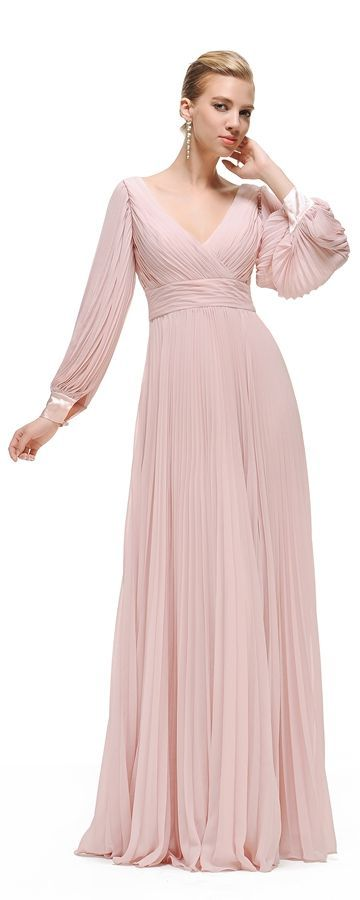 Dusty pink modest bridesmaid dress long sleeves V Neck evening gowns formal  dresses for wedding 9545629a9fe3