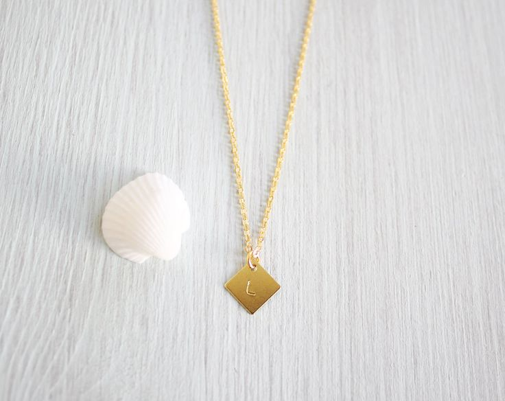 Geometric Diamond Initial Necklace Tiny Hand by MoonTideJewellery