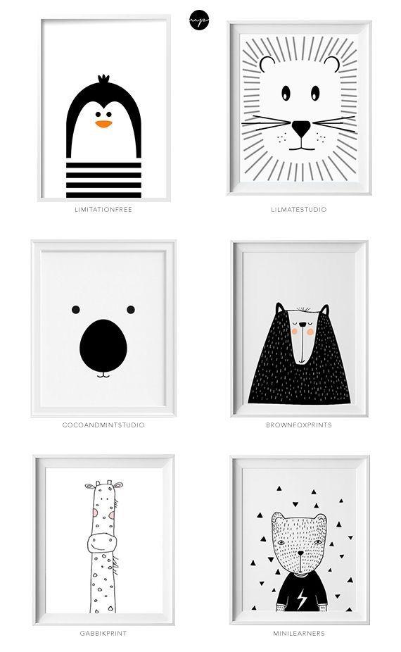 Affiches Deco chambre d'enfants ambiance e scandinave noir et blanc et animaux!