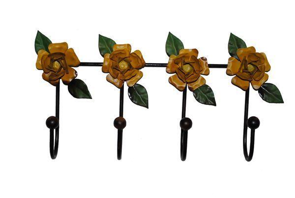 Cabideiro Rosas Amarelas 04 Ganchos  - Cód 845 - Lustres - Arte em Ferro - Barrocarte