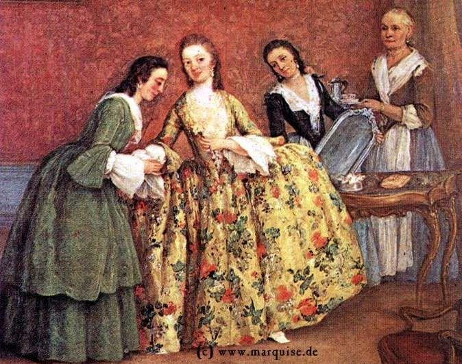La Couturière Parisienne - A Venetian lady's morning, c1741  Pietro Longhi  Galleria dell'Accademia, Venezia. Source: Web Gallery of Art