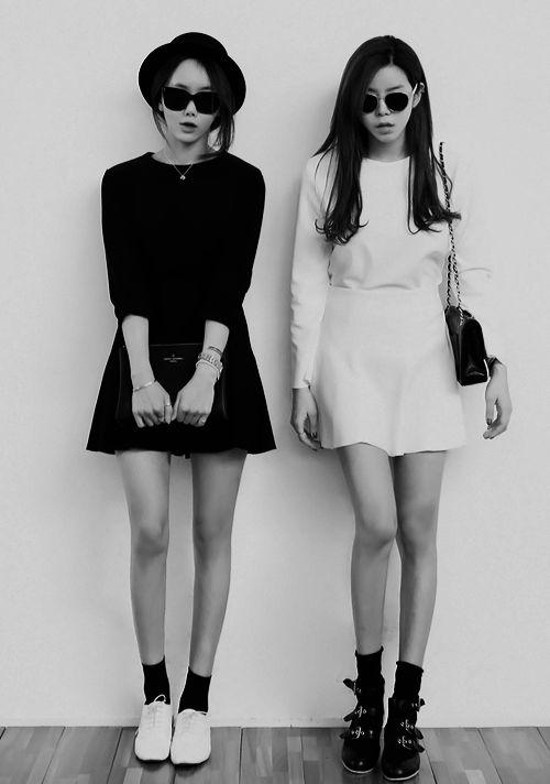 Black & white office wear. I want the black dress!