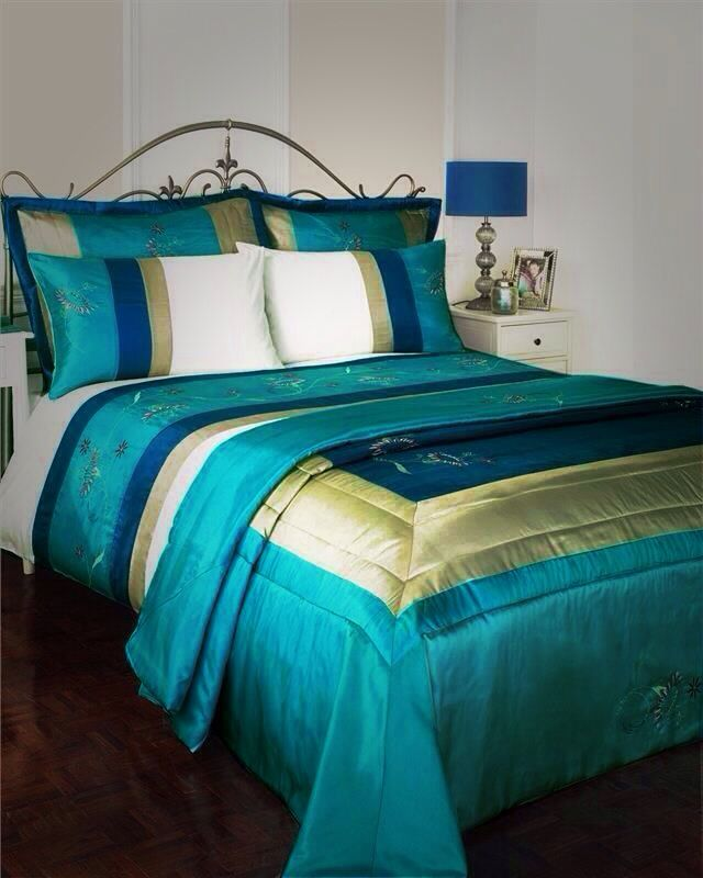 Details About Turquoise Teal Bed Set King Size Duvet Cover