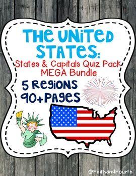 U S States And Capitals Quiz Pack Mega Bundle