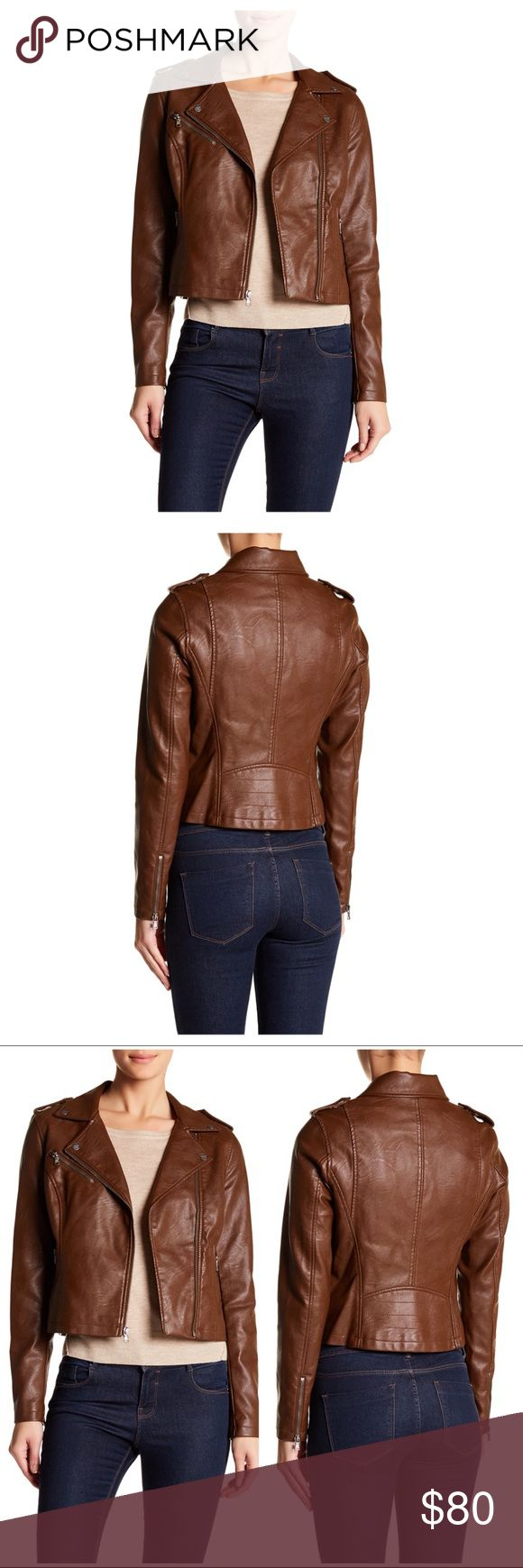 [Levi's] Faux Leather Moto Jacket (Brown) Faux leather