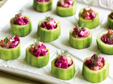 Cucumber Cups with Roasted Beets and Yogurt Dressing   Crisp cucumbers with tangy yogurt dressing are an ideal intro to an Indian summer evening. Hearty, roasted beets give the dish a seasonal spin.
