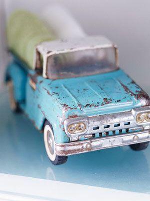 vintage metal truck in turquoise.