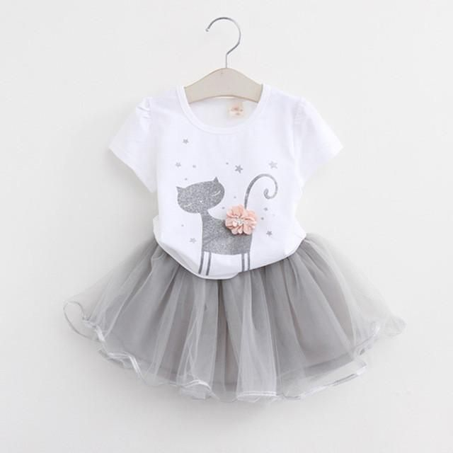 Baby Girls Spring Summer Short Sleeve Printing Tutu Dress with Bag 2 Piece Set