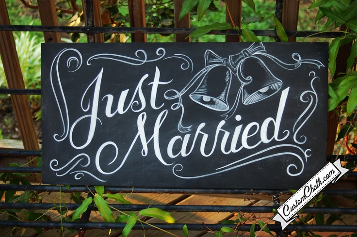 Just Married sign - car sign - wedding photo prop - Just Married banner. $89.00, via Etsy.