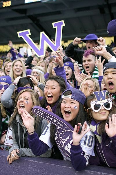Hardcore UW Husky fans during a football game! WOOF!