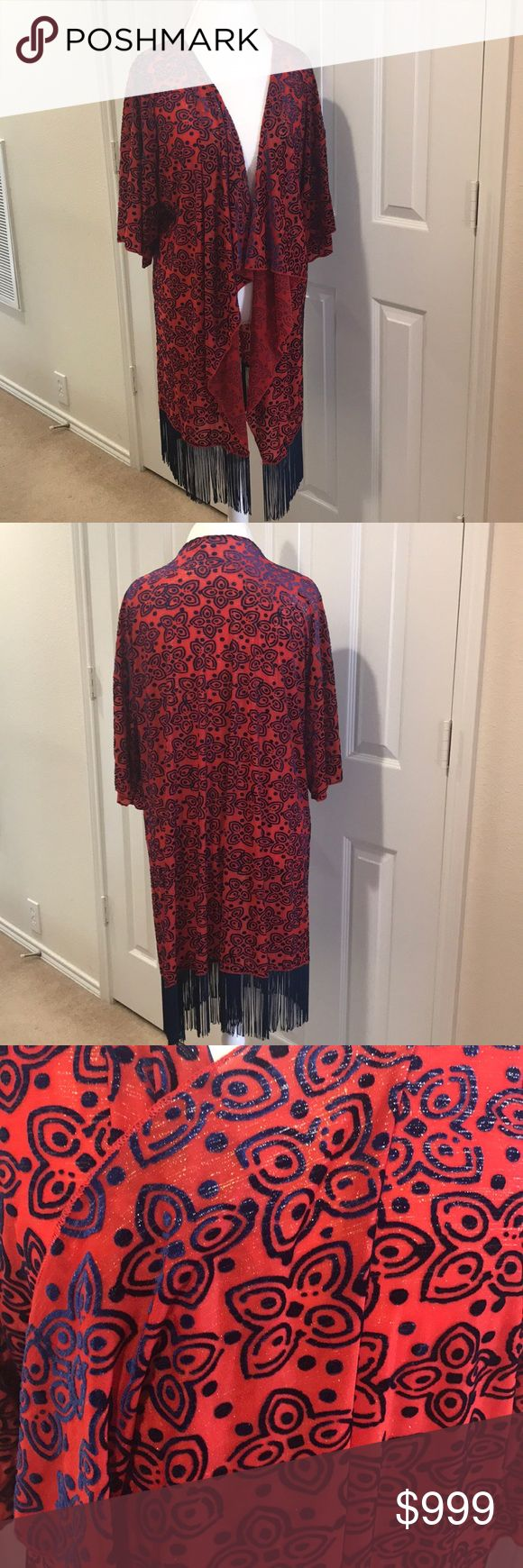 🆕LuLaRoe Elegant Collection Monroe Kimono Size L 🎉REPOSH🎉This stunning red semi-sheer polyester kimono is flocked in two-tone navy/royal blue velvet. The shimmery gold threads that glitter with every movement really elevate this Monroe from the Elegant Collection to holiday-party status! This is a retired style! Tops